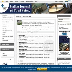 ITALIAN JOURNAL OF FOOD SAFETY - 2016 - Differences in chemical, physical and microbiological characteristics of Italian burrata cheeses made in artisanal and industrial plants of Apulia Region