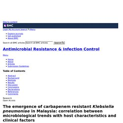 BMC PEDIATRICS 07/01/17 The emergence of carbapenem resistant Klebsiella pneumoniae in Malaysia: correlation between microbiological trends with host characteristics and clinical factors
