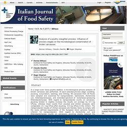 ITALIAN JOURNAL OF FOOD SAFETY - 2017 - Analysis of a poultry slaughter process: influence of process stages on the microbiological contamination of broiler carcasses