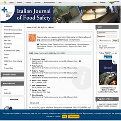 ITALIAN JOURNAL OF FOOD SAFETY - 2014 - Salmonella prevalence and microbiological contamination of pig carcasses and slaughterhouse environment