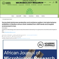 African Journal of Microbiology Research Vol. 5(19), pp. 2980-2985, 23 September, 2011 Survey beta lactamase production and resi