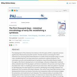 The first thousand days – intestinal microbiology of early life: establishing a symbiosis - Wopereis - 2014 - Pediatric Allergy and Immunology