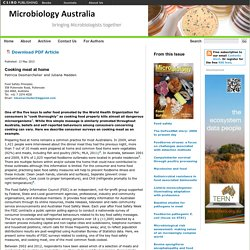 MICROBIOLOGY AUSTRALIA - MAI 2013 - Food Safety. Au sommaire: Cooking meat at home