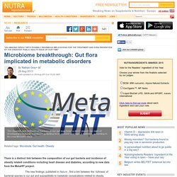 Microbiome breakthrough: Gut flora implicated in metabolic disorders