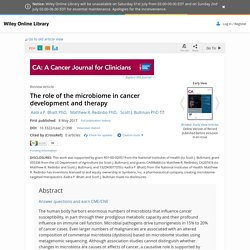The role of the microbiome in cancer development and therapy