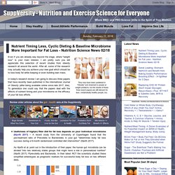 Nutrient Timing Less, Cyclic Dieting & Baseline Microbiome More Important for Fat Loss - Nutrition Science News 02/18 - SuppVersity: Nutrition and Exercise Science for Everyone