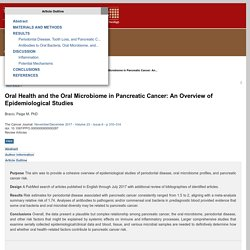 Oral Health and the Oral Microbiome in Pancreatic Cancer: An... : The Cancer Journal