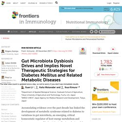 Gut Microbiota Dysbiosis Drives and Implies Novel Therapeutic Strategies for Diabetes Mellitus and Related Metabolic Diseases