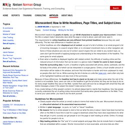 Microcontent: Headlines and Subject Lines (Alertbox)