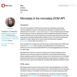 Microdata & the microdata DOM API