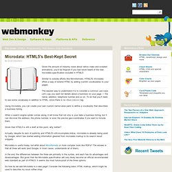 Microdata: HTML5's Best-Kept Secret | Webmonkey | Wired.com