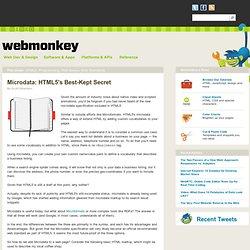 Microdata: HTML5's Best-Kept Secret | Webmonkey| Wired.com