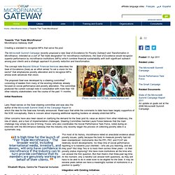 "Microfinance Gateway>Towards ""Fair Trade Microfinance"""