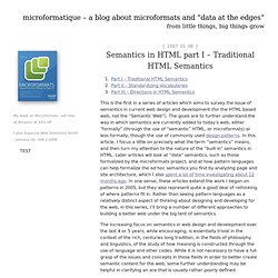 """a blog about microformats and """"data at the edges"""" : Semantics in HTML part I - Traditional HTML Semantics"""