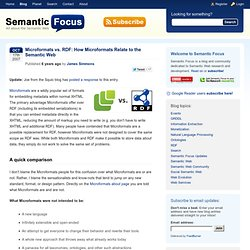 Microformats vs. RDF: How Microformats Relate to the Semantic Web