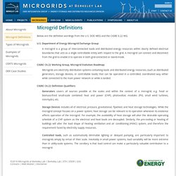 Microgrid Definitions