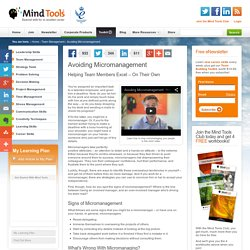Avoiding Micromanagement - Management Training from MindTools.com
