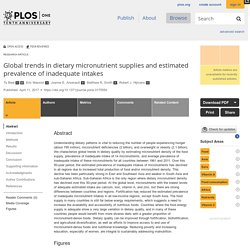 PLOS 11/04/17 Global trends in dietary micronutrient supplies and estimated prevalence of inadequate intakes
