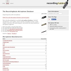 Microphone Database | RecordingHacks.com