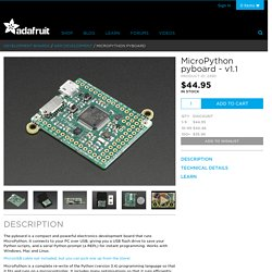 MicroPython pyboard [v1.1] ID: 2390 - $44.95