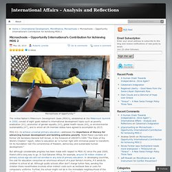 Microschools – Opportunity International's Contribution for Achieving MDG 2 « International Affairs – Analysis and Reflections
