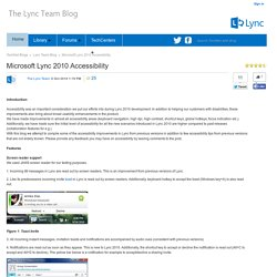 Microsoft Lync 2010 Accessibility - Lync Team Blog