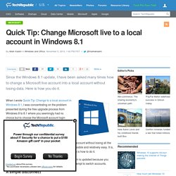 Quick Tip: Change Microsoft live to a local account in Windows 8.1
