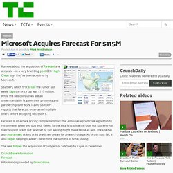 Microsoft Acquires Farecast For $115M