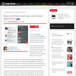 Klout and Microsoft sign multi-year agreement - Canada Canada Social Media