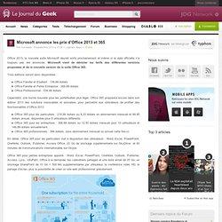 Microsoft annonce les prix d'Office 2013 et 365