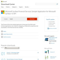 Download Financial Services sample application (for Microsoft Surface 1.0 SP1) from Official Microsoft Download Center