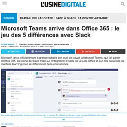 Microsoft Teams arrive dans Office 365 : le jeu des 5 différences avec Slack