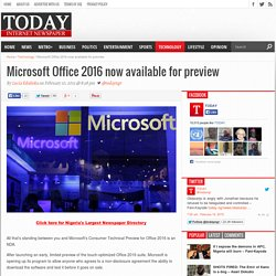 Microsoft Office 2016 now available for preview