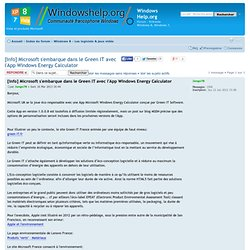 [Info] Microsoft s'embarque dans le Green IT avec l'App Windows Energy Calculator : Les logiciels & jeux vidéo