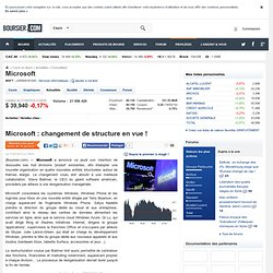 Microsoft : changement de structure en vue !