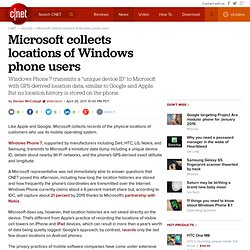 Microsoft collects locations of Windows phone users