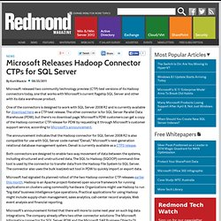 Microsoft Releases Hadoop Connector CTPs for SQL Server
