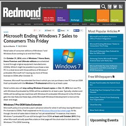 Microsoft Ending Windows 7 Sales to Consumers This Friday
