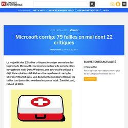 Microsoft corrige 79 failles en mai dont 22 critiques
