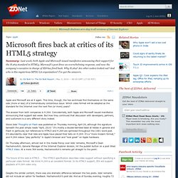 Microsoft fires back at critics of its HTML5 strategy