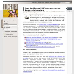 Open Bar Microsoft/Défense : une rentrée dense en informations