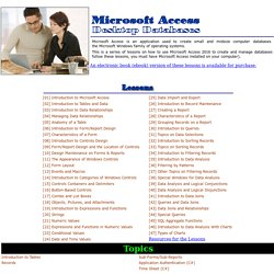Microsoft Access 2010 Desktop Databases