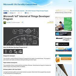 Microsoft 'IoT' Internet of Things Developer Program - Microsoft UK Faculty Connection