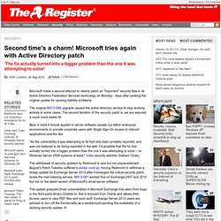Second time's a charm! Microsoft tries again with Active Directory patch