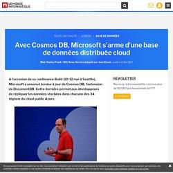 Avec Cosmos DB, Microsoft s'arme d'une base de données distribuée cloud