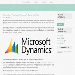 Some key Points of Microsoft Dynamic CRM