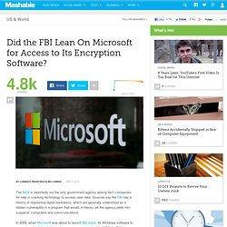 Did the FBI Lean On Microsoft for Access to Its Encryption Software?