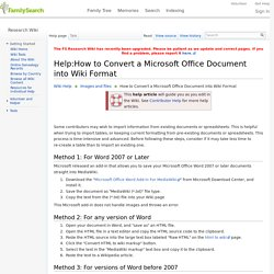 Help:How to Convert a Microsoft Office Document into Wiki Format Genealogy - FamilySearch Wiki