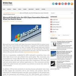 Microsoft Finally Joins the OIN (Open Innovation Network)