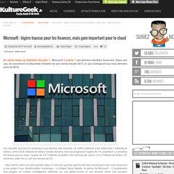 Microsoft : légère hausse pour les finances, mais gain important pour le cloud
